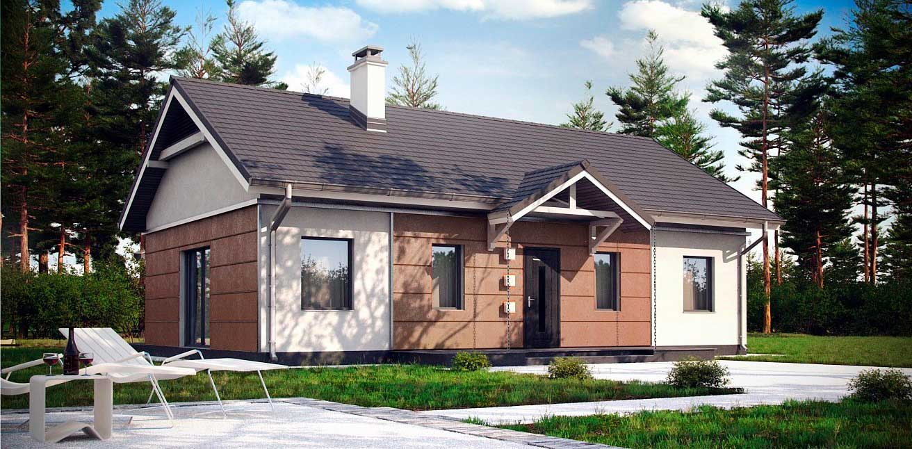 Проект одноэтажного газобетонного дома №2 (96,4 м²)