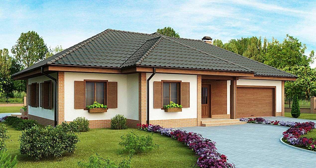 Проект одноэтажного газобетонного дома с гаражом №4 (202,3 м²)