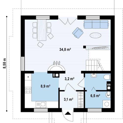 Планировка дома из газобетона №3. Первый этаж (56,5 м²)