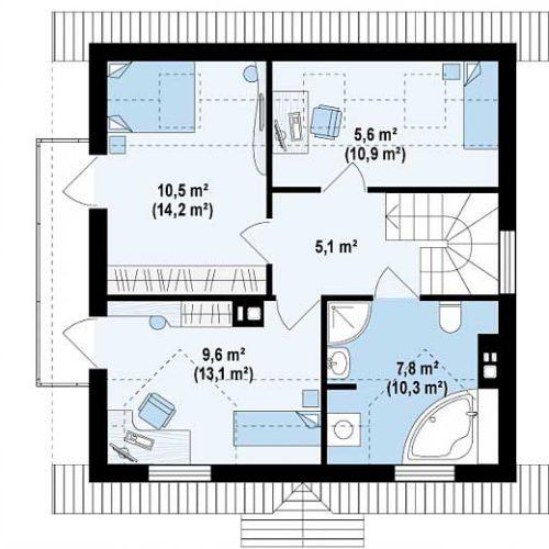 Планировка дома из газобетона №3. Второй этаж (53,6 м²)