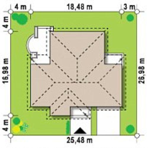 Размеры участка дома из газобетона №4 (202,3 м²)