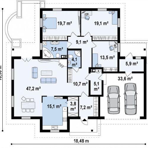 Планировка дома из газобетона №4 (202,3 м²)