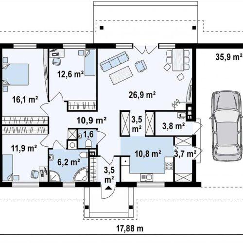 Планировка дома из газобетона №6 (148,6 м²)