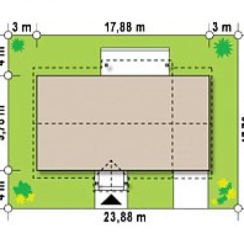 Размеры участка дома из газобетона №6 (148,6 м²)