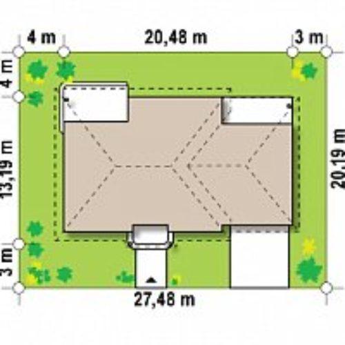 Размеры участка дома из газобетона №7 (186 м²)
