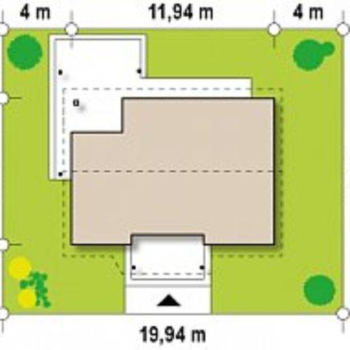 Размеры участка дома из газобетона №8 (75,3 м²)