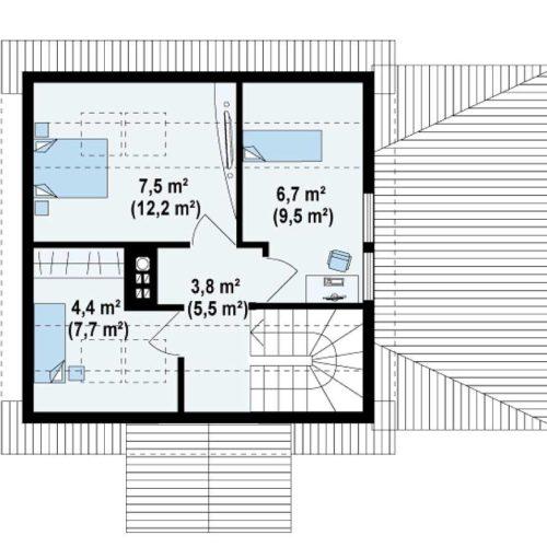 Планировка дома из бруса №1 (81,6 м²). Второй этаж 34,9 м²