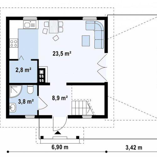 Планировка дома из бруса №1 (81,6 м²). Первый этаж 46,7 м²