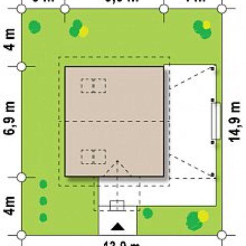 Размеры участка дома из бруса №1 (81,6 м²)