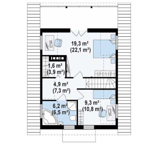 Планировка дома из бруса №2 (108,3 м²). Второй этаж 57,8 м²