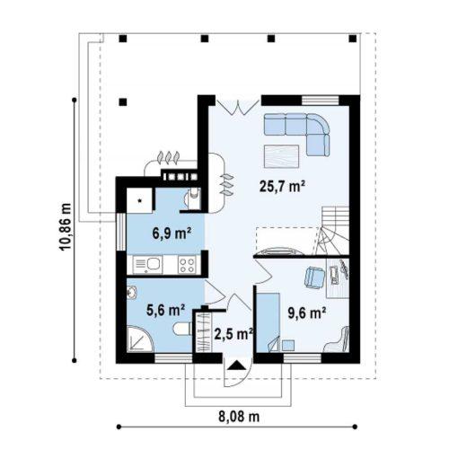 Планировка дома из бруса №2 (108,3 м²). Первый этаж 50,4 м²