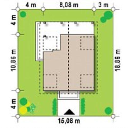 Размеры участка дома из бруса №2 (108,3 м²)