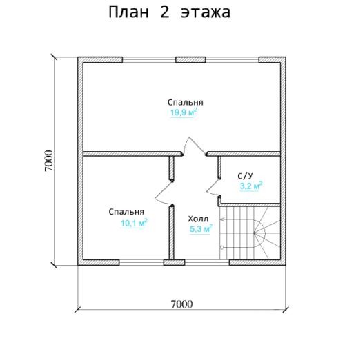 Планировка дома из бруса №3 (105 м²). Второй этаж