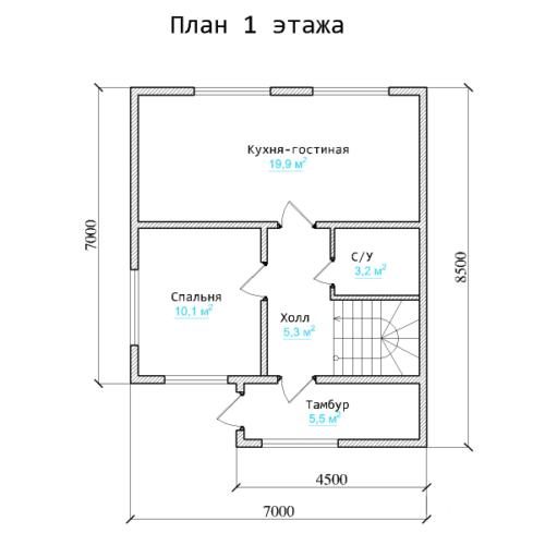 Планировка дома из бруса №3 (105 м²). Первый этаж
