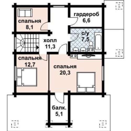 Планировка дома из бруса №4 (131,5 м²). Второй этаж