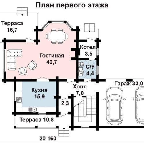 Планировка дома из бруса №5 (184,5 м²). Первый этаж