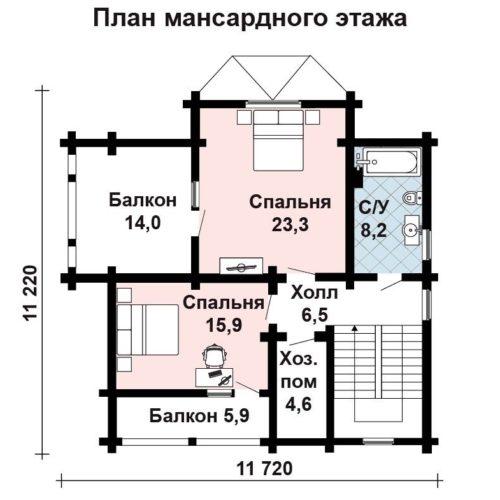 Планировка дома из бруса №5 (184,5 м²). Второй этаж (мансардный)