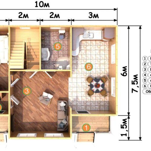 Планировка дома из бруса №6 (134,5 м²). Первый этаж
