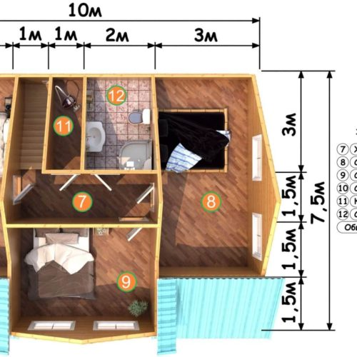 Планировка дома из бруса №6 (134,5 м²). Второй этаж