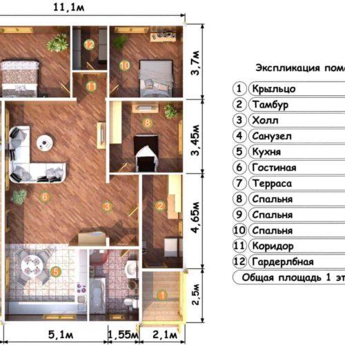 Планировка дома из бруса №7 (145.9 м²)