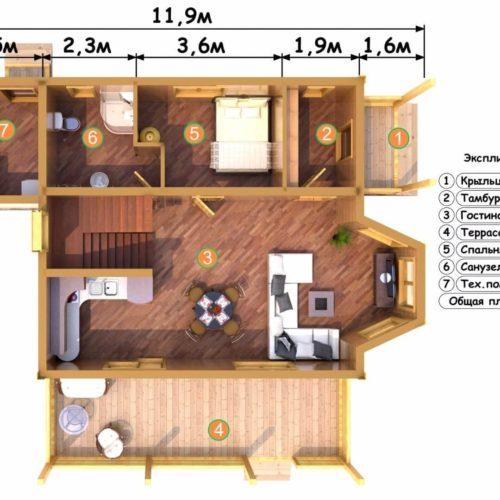 Планировка дома из бруса №8 (133 м²). Первый этаж