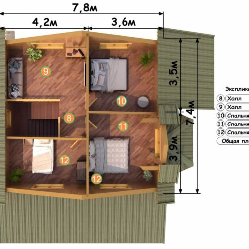 Планировка дома из бруса №8 (133 м²). Второй этаж