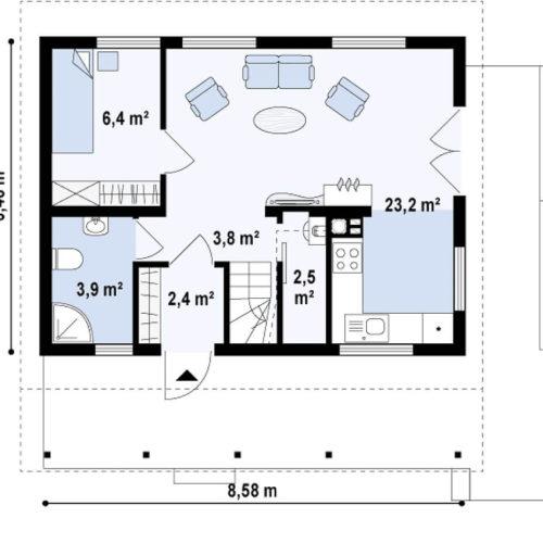 Планировка дома из каркаса №1 (84 м²). Первый этаж 42,9 м²