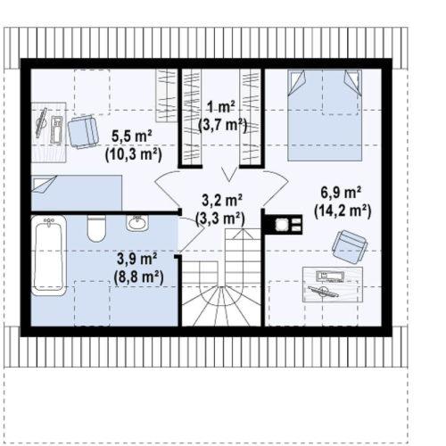 Планировка дома из каркаса №1 (84 м²). Второй этаж 41,1 м²
