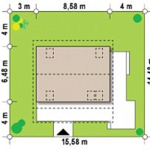 Размеры участка каркасного дома №1 (84 м²)