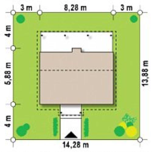 Размеры участка каркасного дома №2 (37,6 м²)
