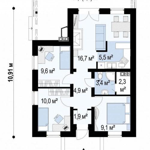 Планировка каркасного дома №3 (73,3 м²). Первый этаж