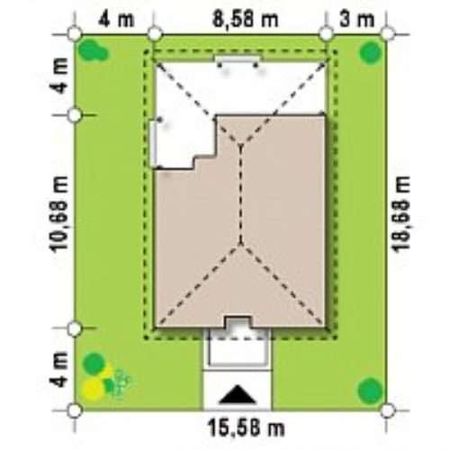 Размеры участка дома из каркаса №3 (73,3 м²)