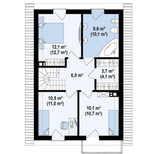 Планировка каркасного дома №4 (71 м²). Второй этаж 54,6 м²