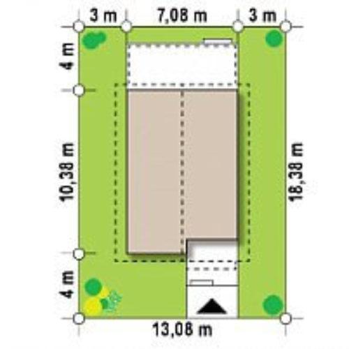 Размеры участка дома из каркаса №4 (71 м²)