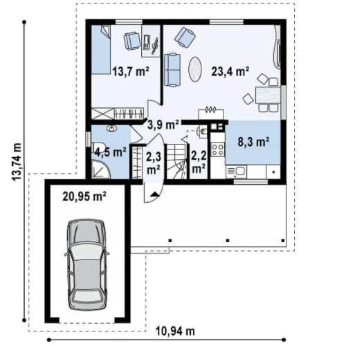 Планировка каркасного дома №5 (134,6 м²). Первый этаж 79,3 м²