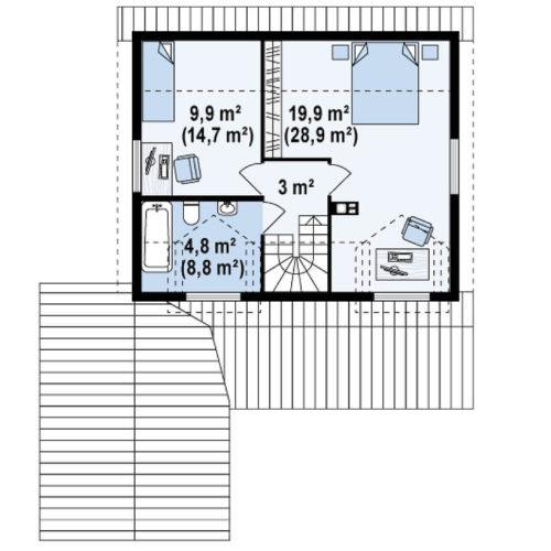 Планировка каркасного дома №5 (134,6 м²). Второй этаж 55,3 м²