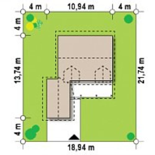 Размеры участка каркасного дома №5 (134,6 м²)