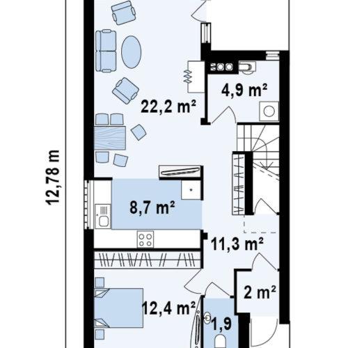 Планировка дома из каркаса №6 (126,4 м²). Первый этаж 65,4 м²