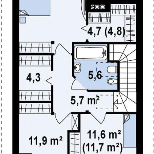 Планировка дома из каркаса №6 (126,4 м²). Второй этаж 61,0 м²