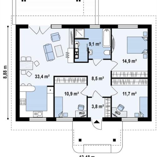 Планировка каркасного дома №7 (92,4 м²)