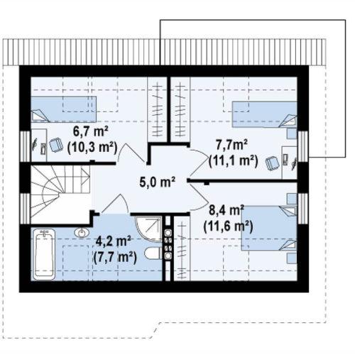 Планировка каркасного дома №8 (91,8 м²). Второй этаж 45,6 м²